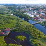 Naturum och Kristianstad mitt i Vattenriket. Foto: Patrik Olofsson/N