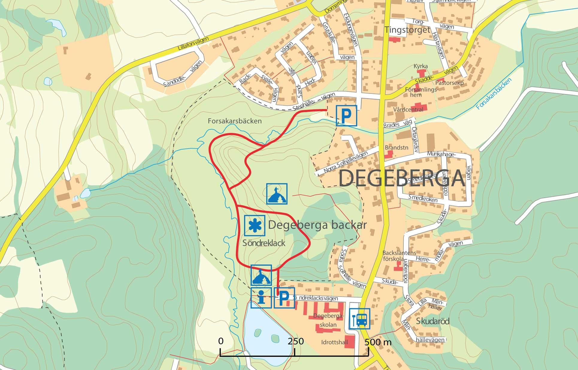 Karta över Degeberga backar