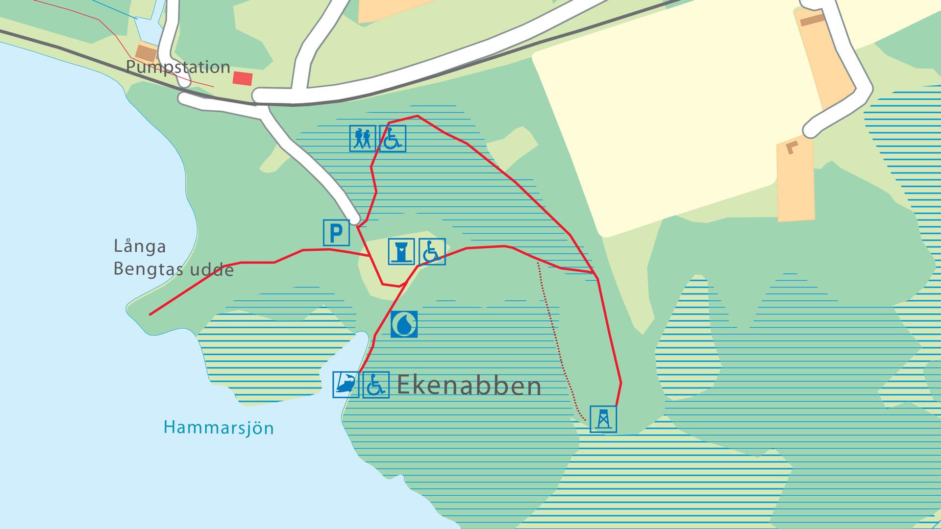 Karta över Ekenabbens stigar och faciliteter.