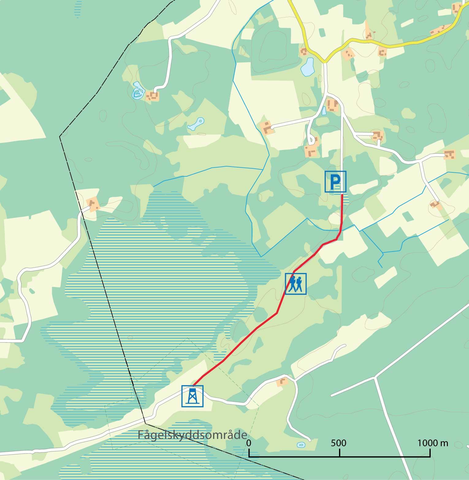Karta med stig och fågeltorn på Fjällmossen