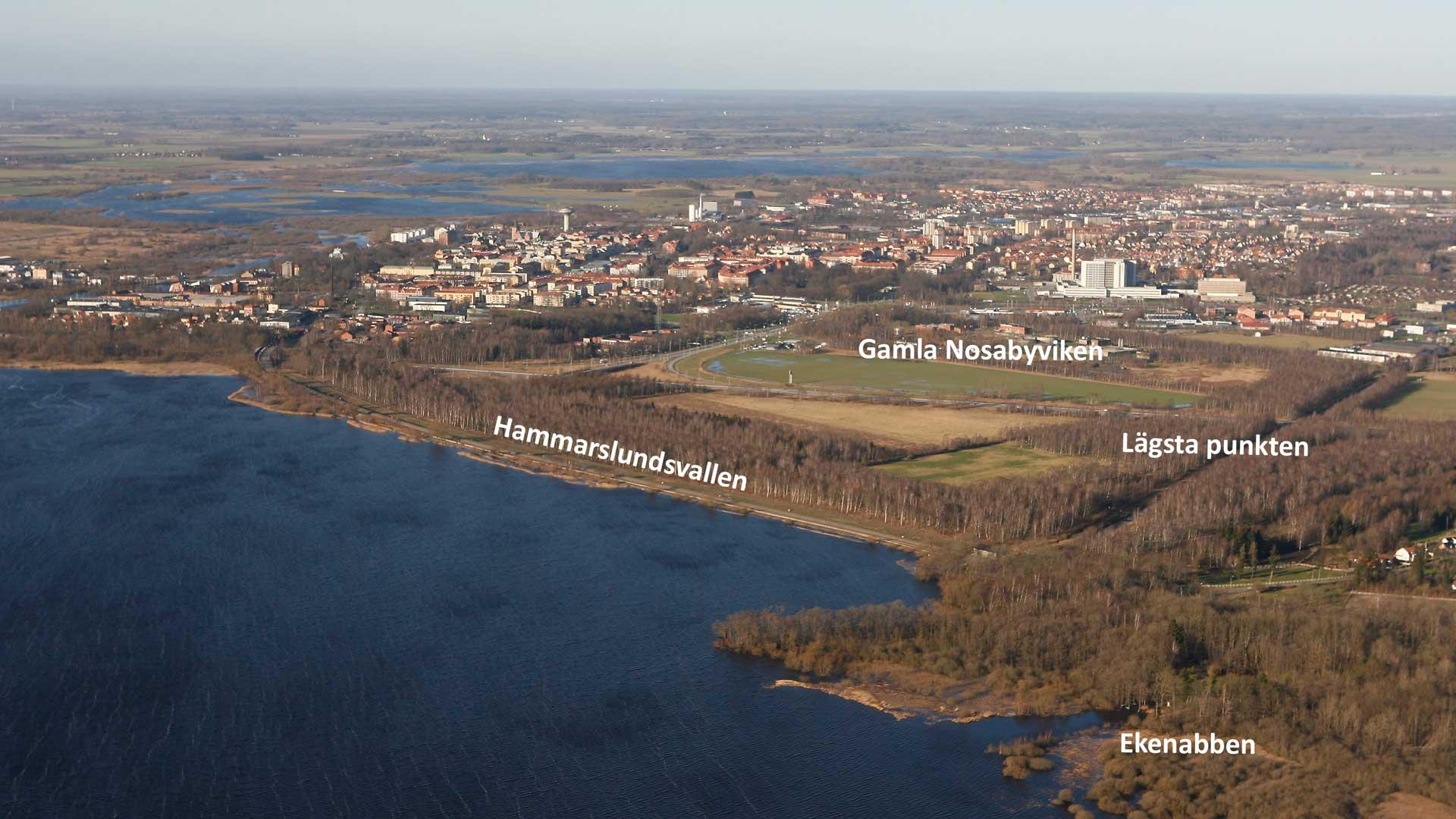 Hammarslundsvallen snörper av den före detta Nosabyviken. Foto: Patrik Olofsson/N