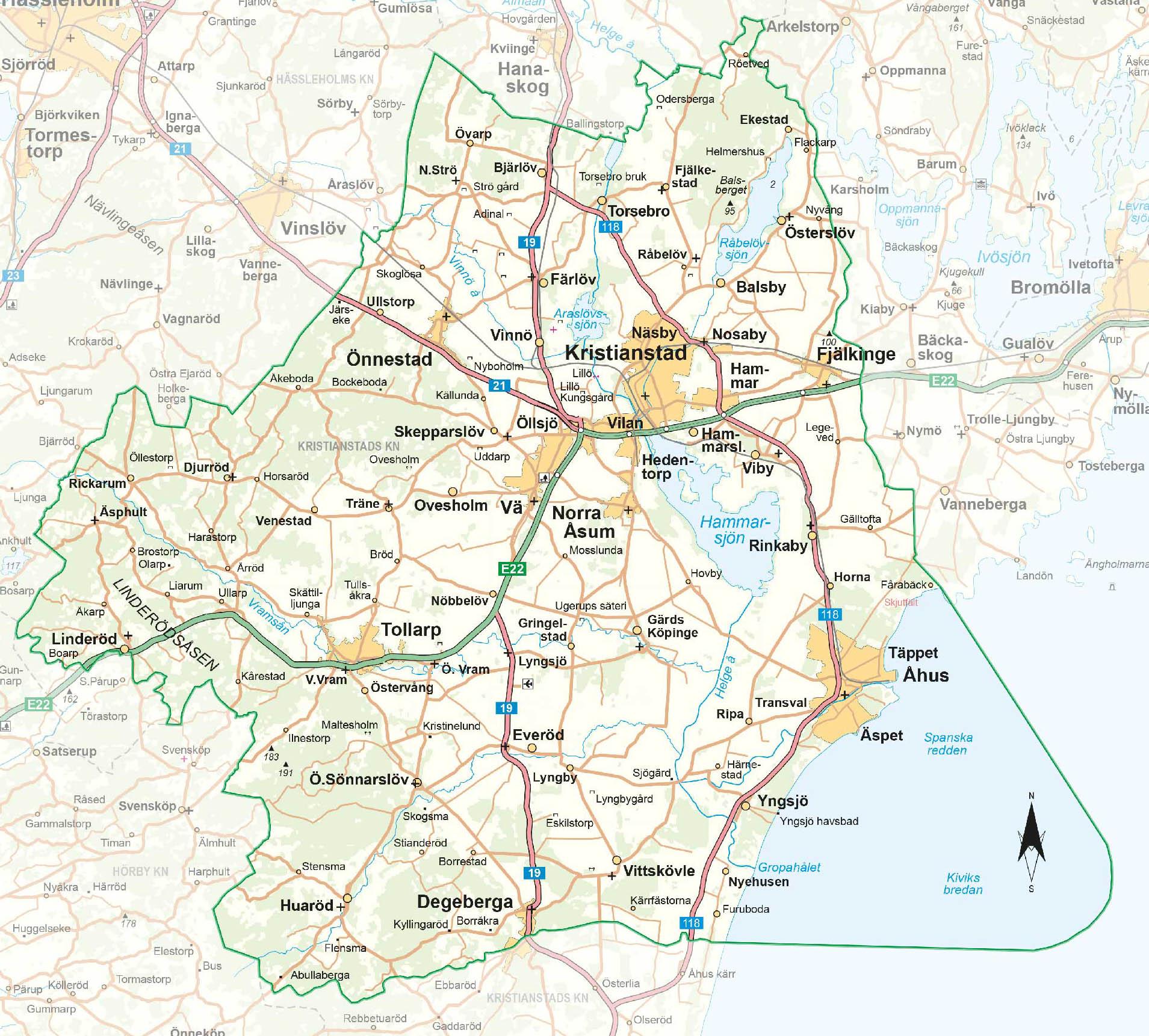 Karta över Biosfärområde Kristianstads Vattenrike