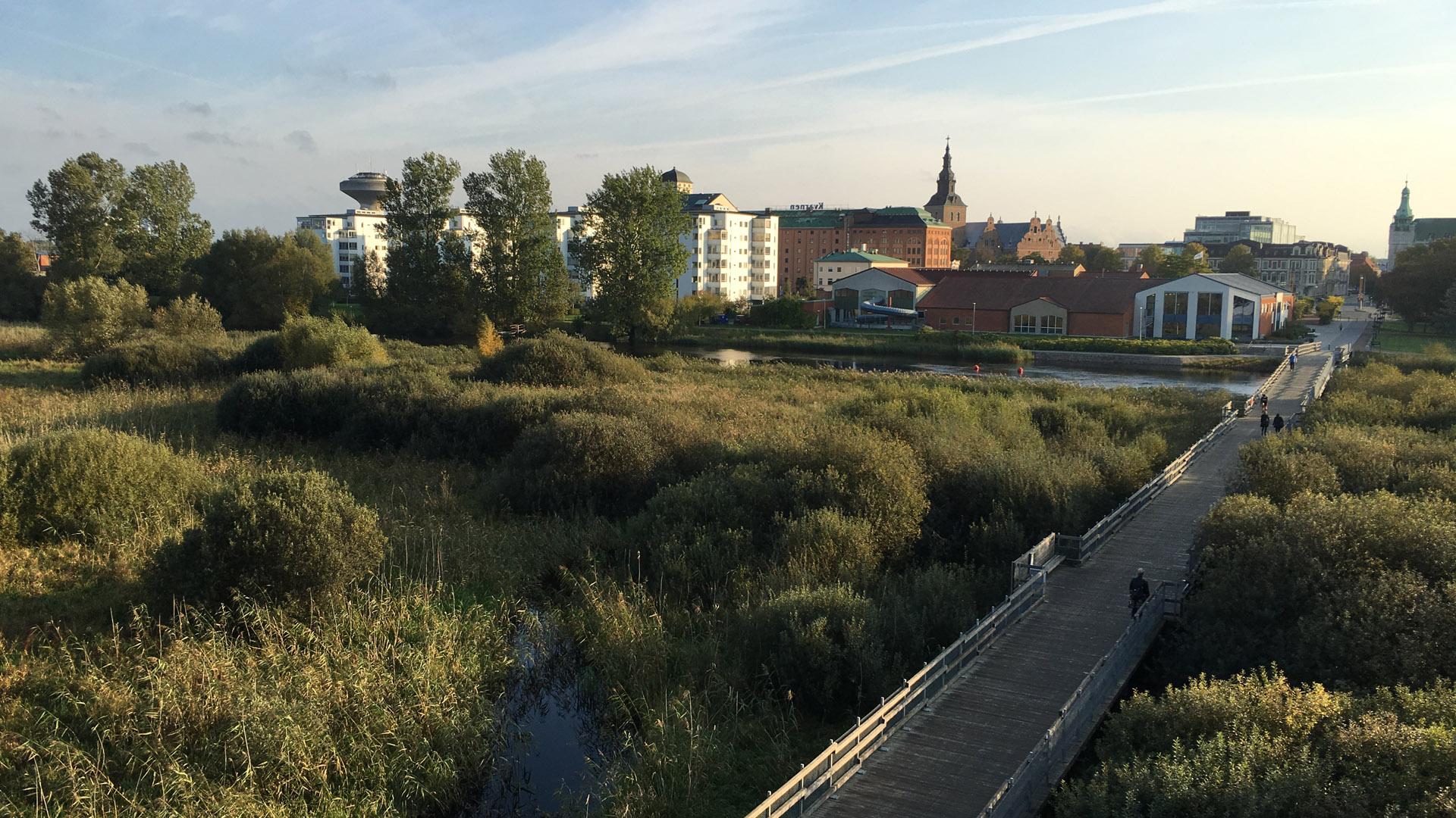 Utsikt mot Kristianstad från naturum