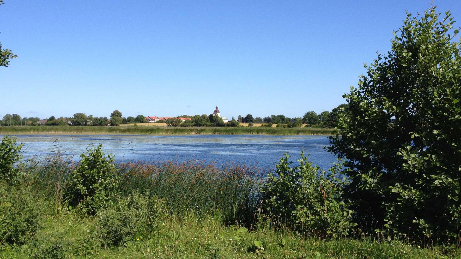 Hercules dammar med Viby kyrka i bakgrunden. Foto: Ebba Trolle