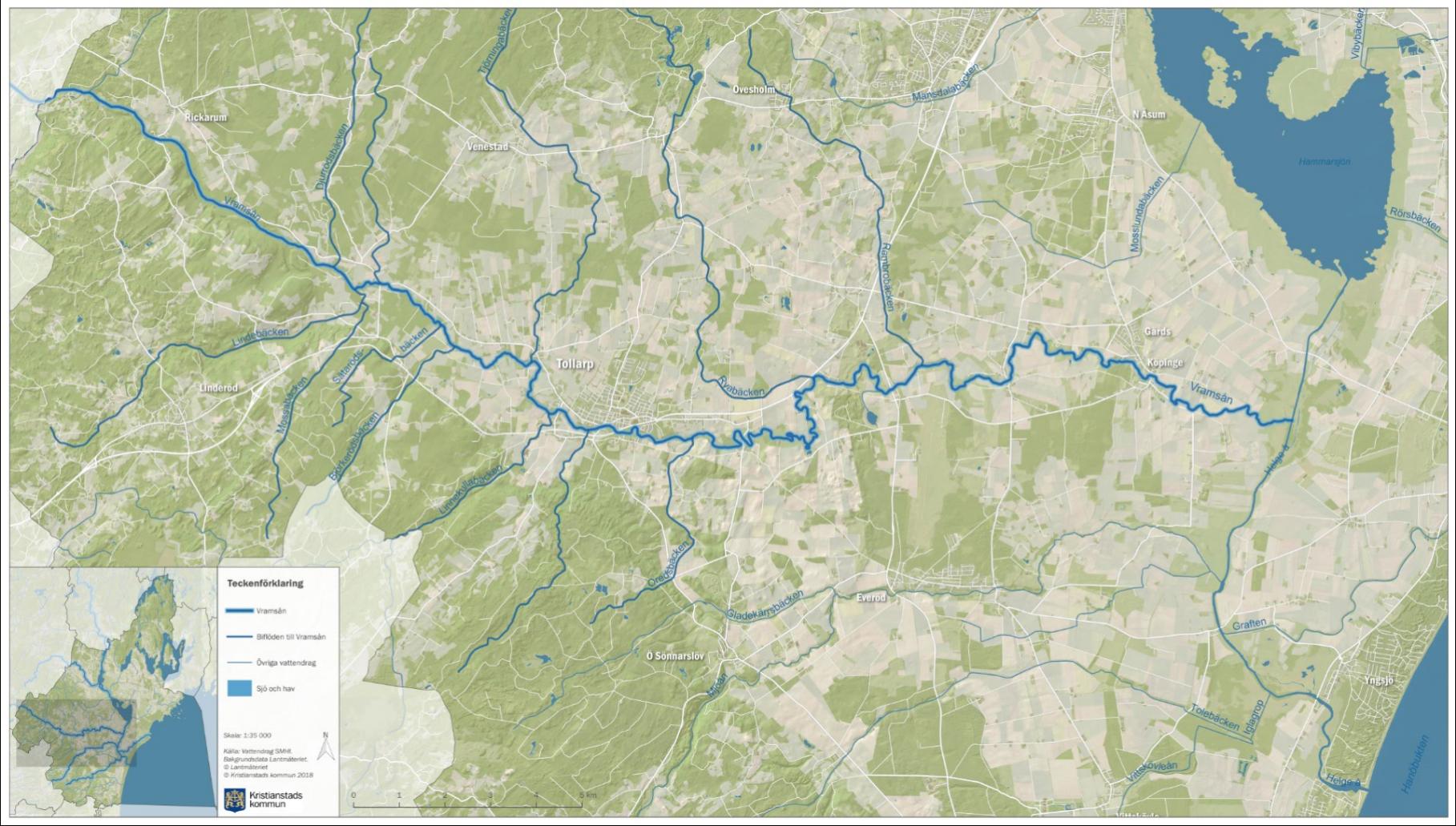 Karta över Vramsån inom Vattenriket.