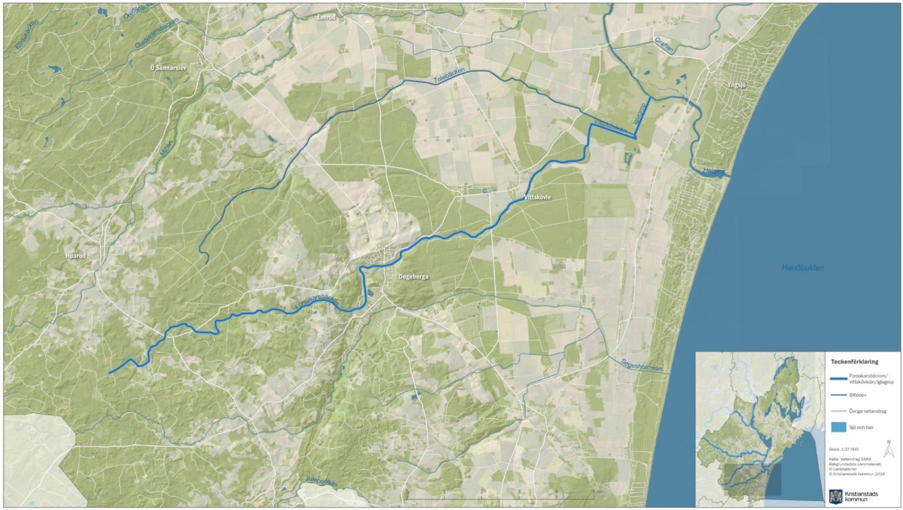 Karta över Forsakarsbäcken inom Vattenriket. Copyright Kristianstads kommun och Lantmäteriet