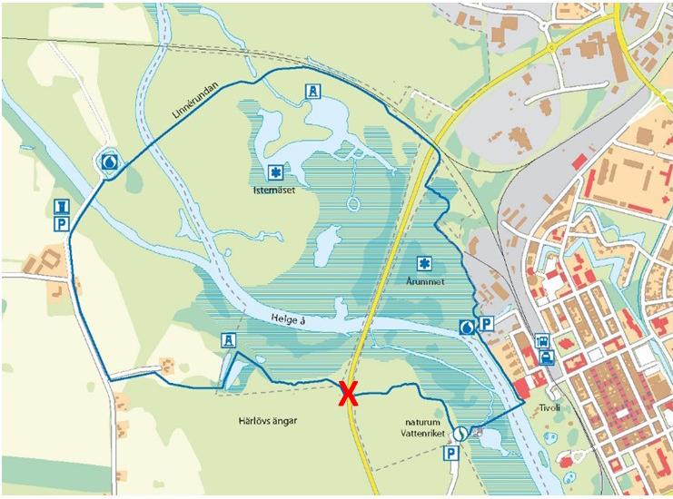 Linnérundan avstängd vid Härlövsängaleden november 2018-mars 2019