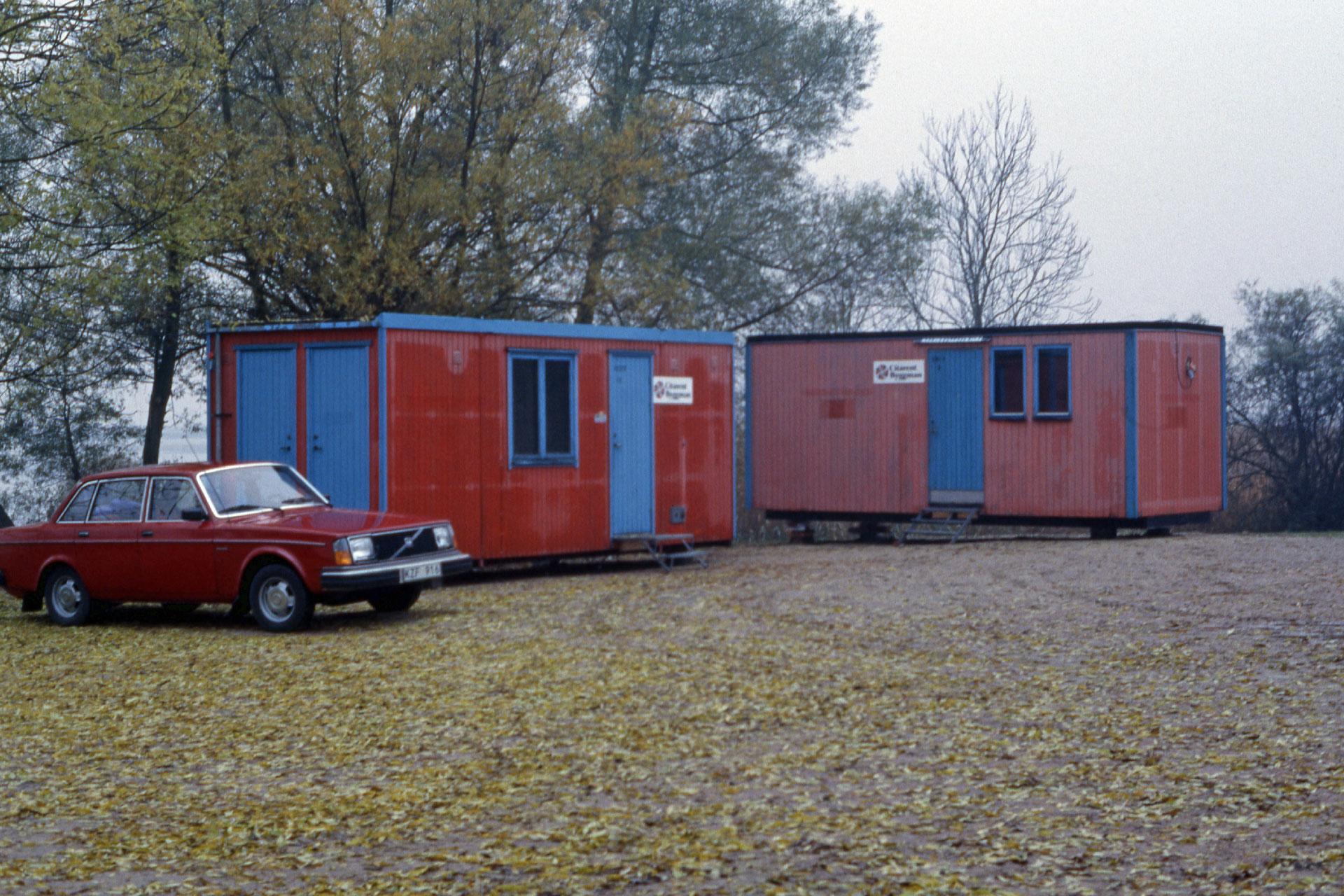 Några baracker vid Kanalhuset var det första kontoret för verksamheten i Vattenriket. Foto: Sven-Erik Magnusson