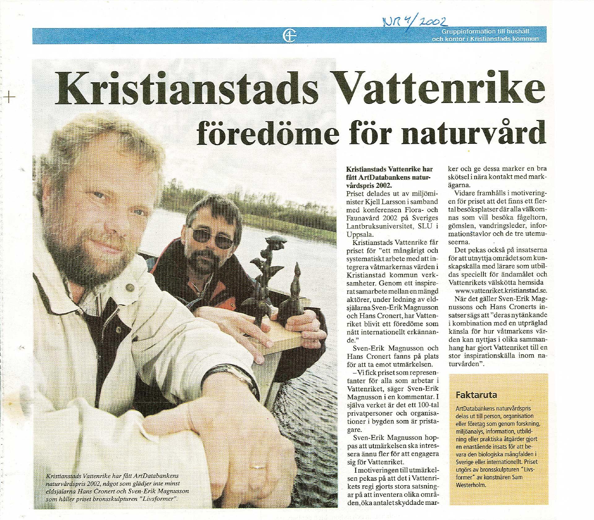 Tidningsartikel om Vattenriket som föredöme för naturvården