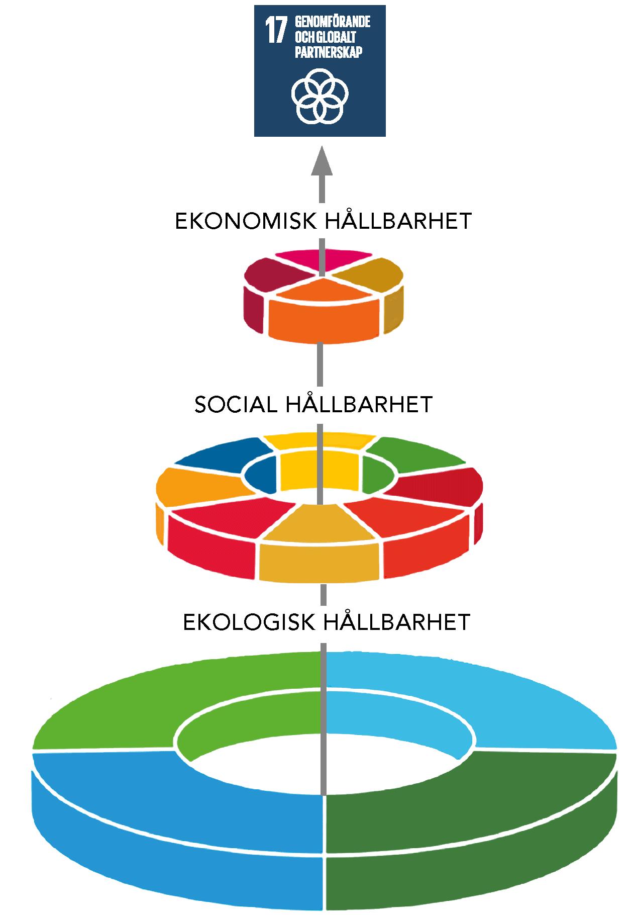 Globala målen uppställda som en tårta i tre våningar. Basen är ekologisk hållbarhet, mitten social hållbarhet och toppen utgörs av ekonomisk hållbarhet. Globala målen. Ett fungerande ekosystem är en förutsättning för välfärd och ekonomisk utveckling. Mål 17 genomsyrar arbetet på vägen mot målen. Här spelar biosfärområden en central roll.