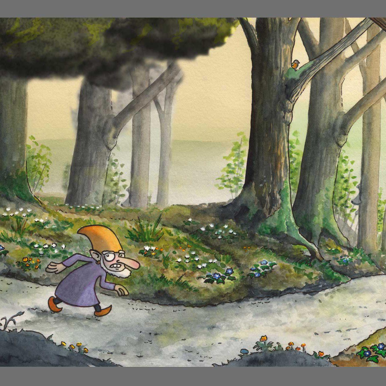 En arg vätte går genom skogen. Illustration Erik Kohlström
