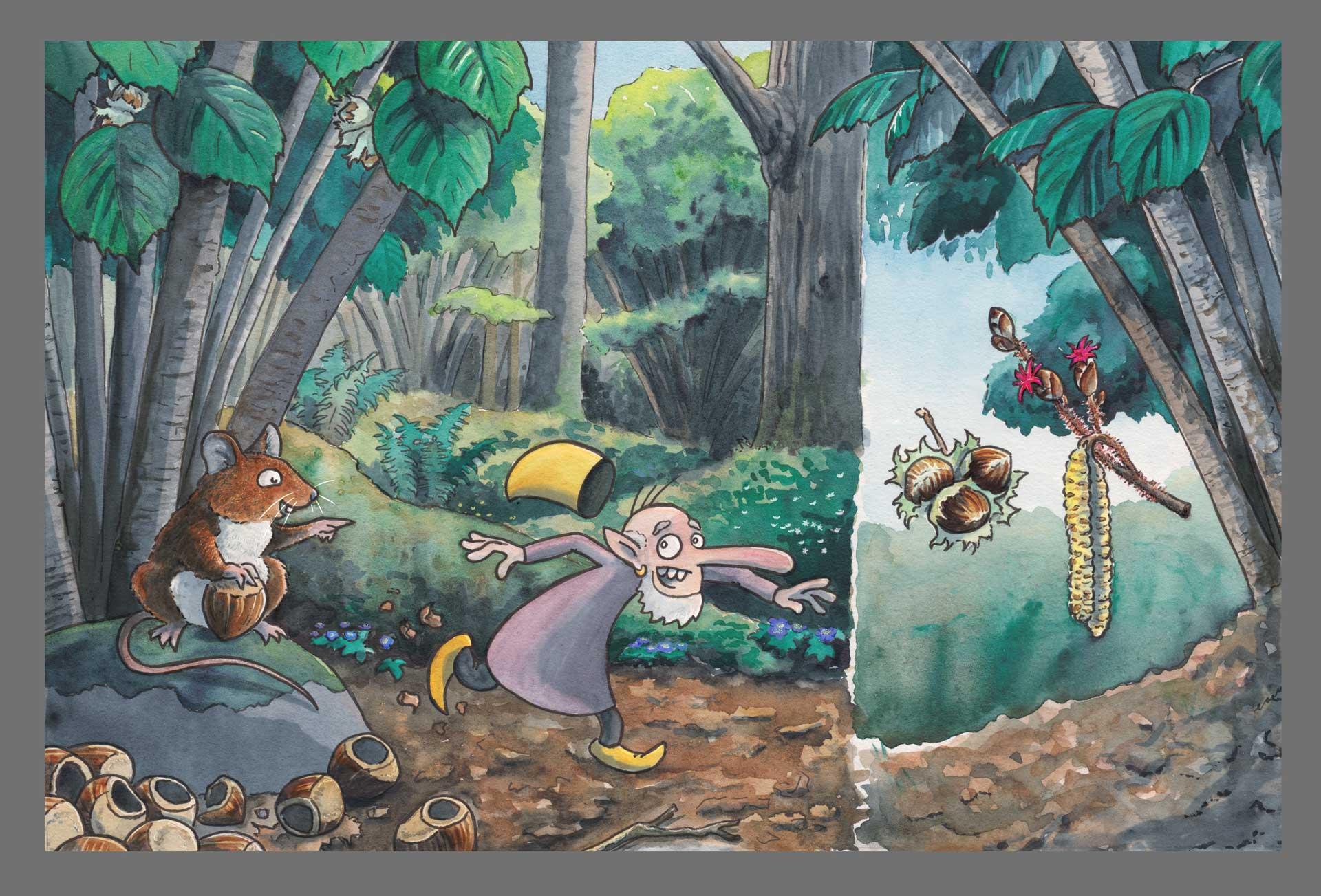 En vätte springer ifrån en mus med en hasselnöt. Illustration Erik Kohlström
